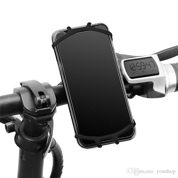 Adjustable Silicone Bicycle Strap Motorcycle Mobile Phone Holder Stand for Baby Carriage and Bike Handlebar Mount