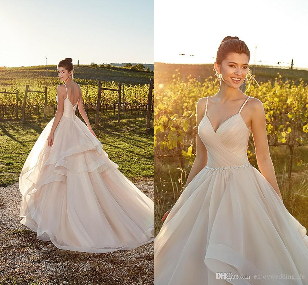 2019 Straps Spaghetti Deep V Neck Wedding Dresses A Line Tulle Sexy Backless Ruched Summer Beach Bridal Gowns Cheap Wedding Gowns