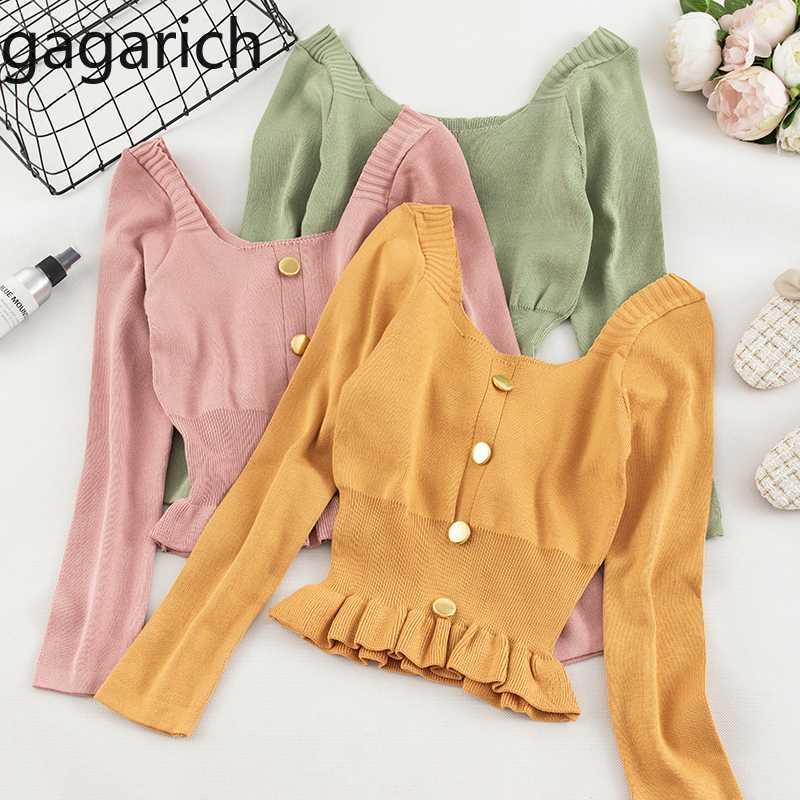 Suéteres de mujer Gagarich Gagarich Sweater 2021 Versión coreana Manga larga Dulce niña corta sólida temprano otoño de punto.
