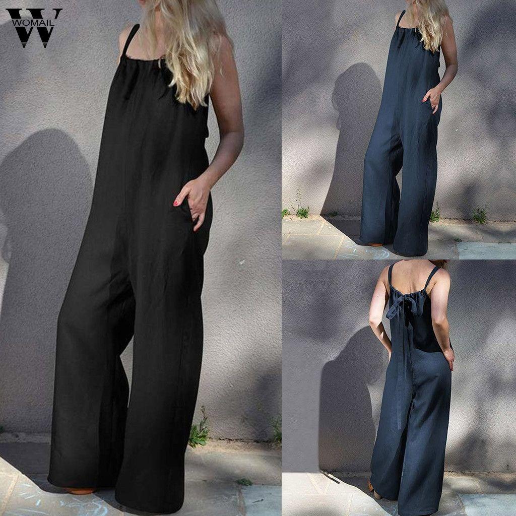 Womail bodysuit Women fashion Summer Sleeveless Long Jumpsuit Loose Clubwear Pocket Wide Leg Jumpsuit plus size Casual 2019