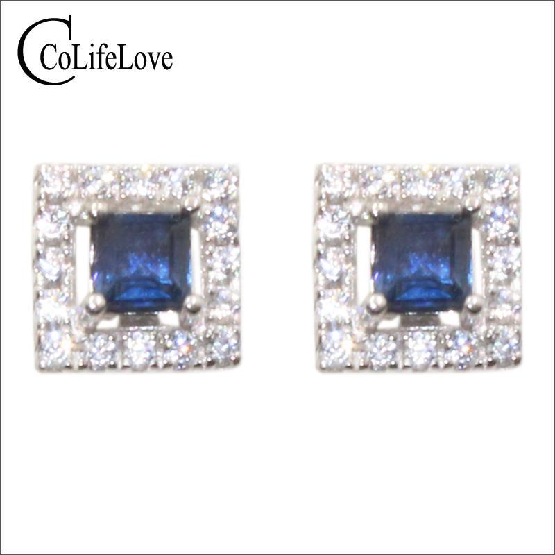 orecchini d'argento classico vite prigioniera dello zaffiro CoLife gioielli per partito 3mm scure orecchini blu zaffiro naturali gioielli zaffiro 925 solido
