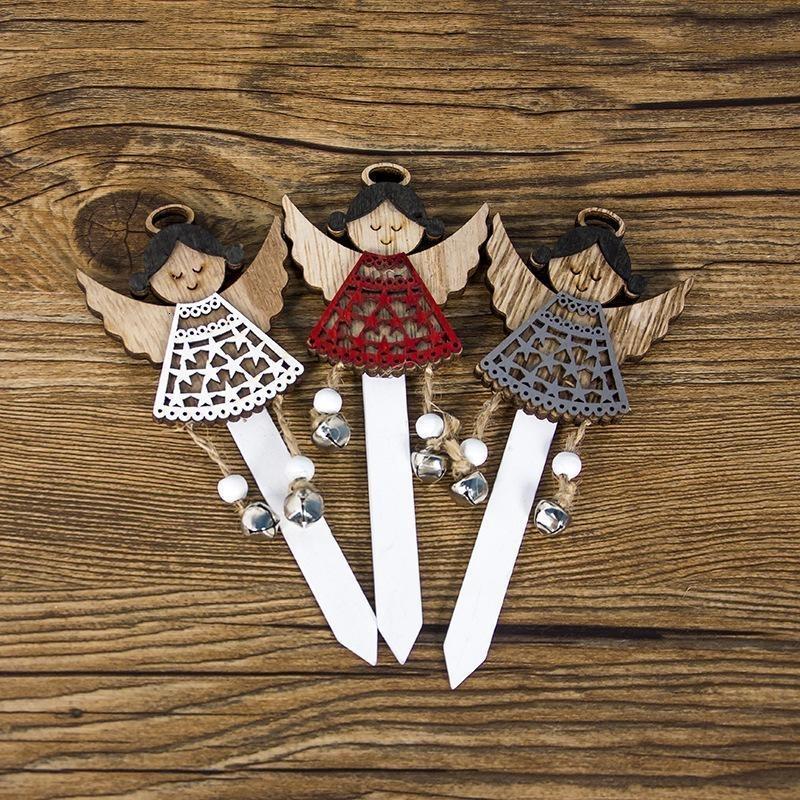 Xmas 2020 3pcs Christmas Cake Topper Crafts in legno Cupcake Top Bandiera della decorazione / lotto per il Natale di cerimonia nuziale nuovo partito Anno Forniture SH190918