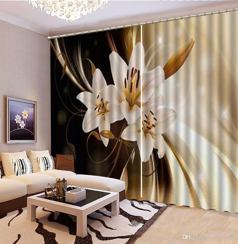 Atacado Impressão Digital HD 3d Cortinas Sonhadoras Nas Flores Delicadas Decoração de Interiores Sombreamento Prático fina Cortina