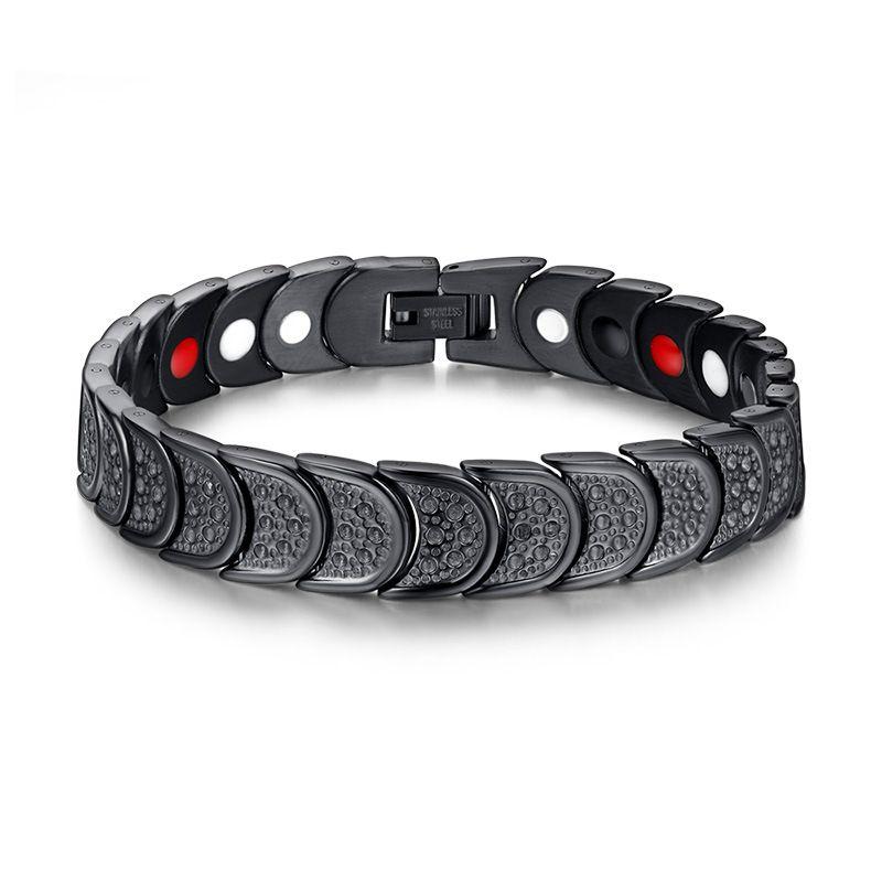 Black Fashion Simple Men's Negative Ion Magnet Bangle Stainless Steel Gemstone Bracelet Watchband Jewelry Gift for Men Boys J019