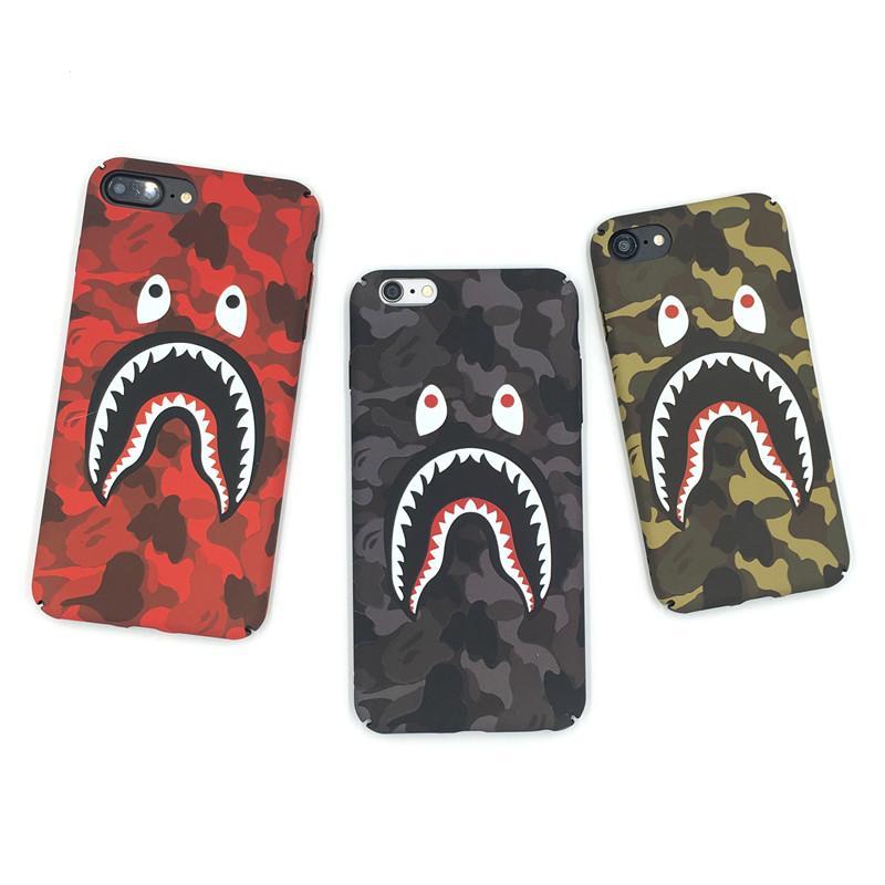 Für iPhone 11 Pro XS Max-Telefon-Kasten Mode Camouflage Shark Mouth-Muster Matte Silikon-Kästen für iPhone 7 8 Plus SE-Abdeckung