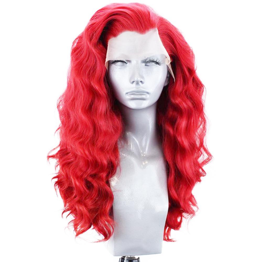 패션 여성 레드 코스프레 컬러 느슨한 웨이브 가발 내열 머리 합성 레이스 프런트 가발 여성 자연 부품 24inch