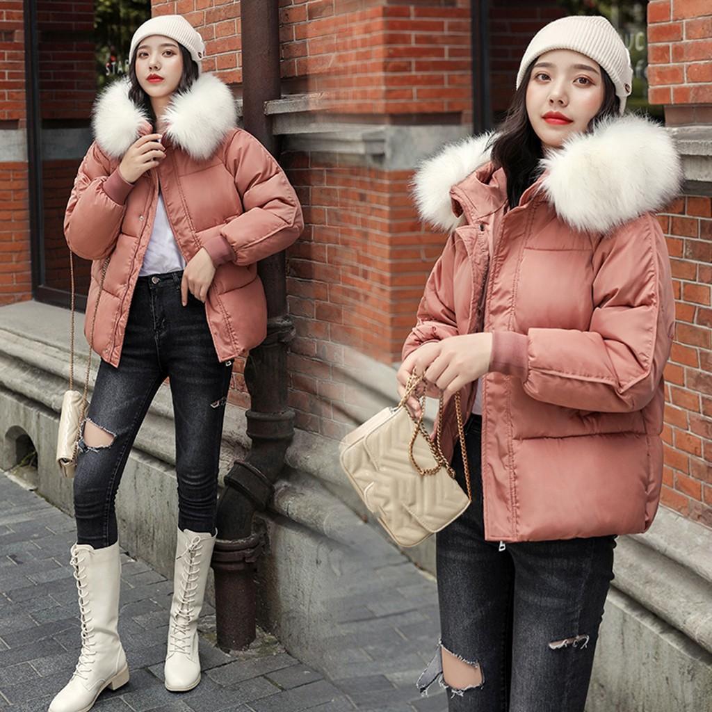 Mulheres do inverno bolsos casaco quente com capuz quente grossa jaqueta solta casaco curto abrigos mujer invierno 2019 W903
