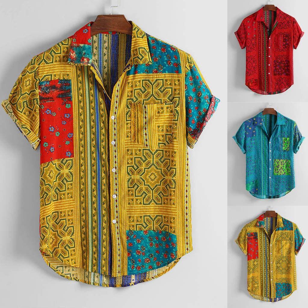 Hommes Vintage ethnique feuillettent collier vers le bas à manches courtes loose Chemises habillées 2020 Slim Fit Shirt Homme blouse affaires hommes