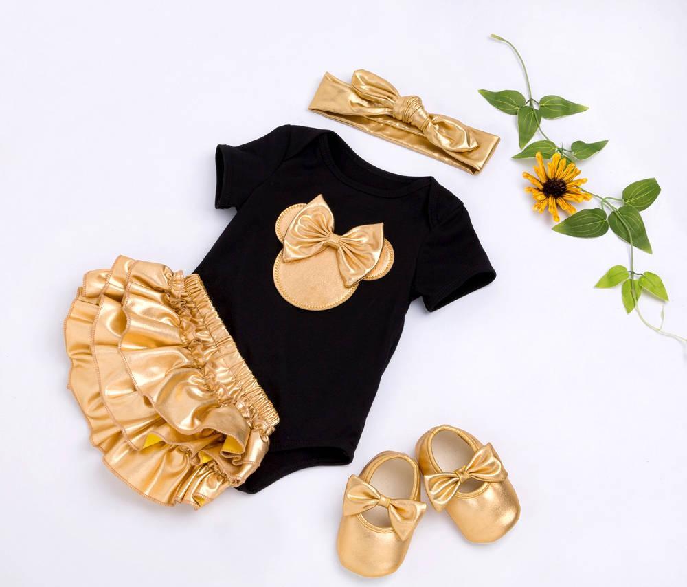 2019 Roupas de Bebê Menina 4 pcs Conjuntos de Roupas de Verão Macacão de Algodão Dourado Ruffle Bloomers Shorts Sapatos Headband Roupa de Moda Recém-nascidos Novo