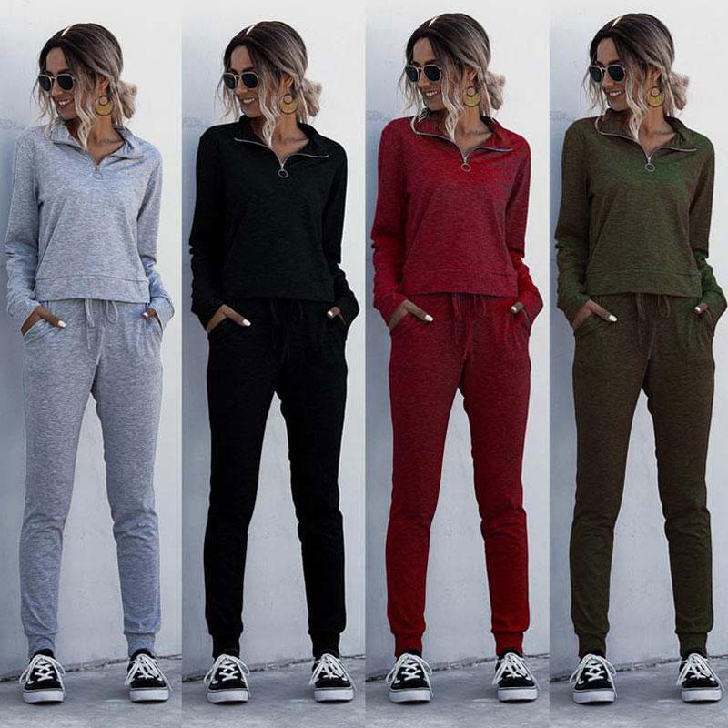 2020 Fatos de Mulheres Set 2 peças de dois equipamentos Piece Set Mulheres Sweatsuit manga comprida Sweat Suit Feminino Treino Romper Sólidos