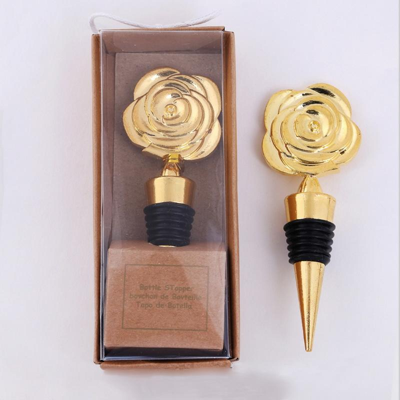 Hediye kutusunda 50 adet Altın Gül şişe Tıpalar düğün şarap Stoper gelin duş bekarlığa veda Partisi malzemeleri ücretsiz nakliye şekeri
