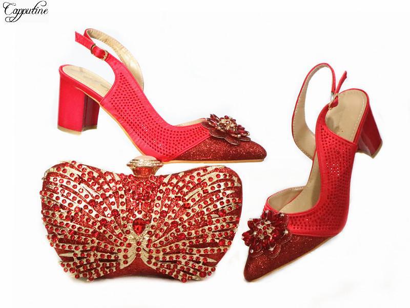 Mode Red Hochzeit Spitzschuh Schuhe und Abendhandtasche Satz mit Kristallsteinen GG120 Heel Höhe 6.5CM, 5 Farbe
