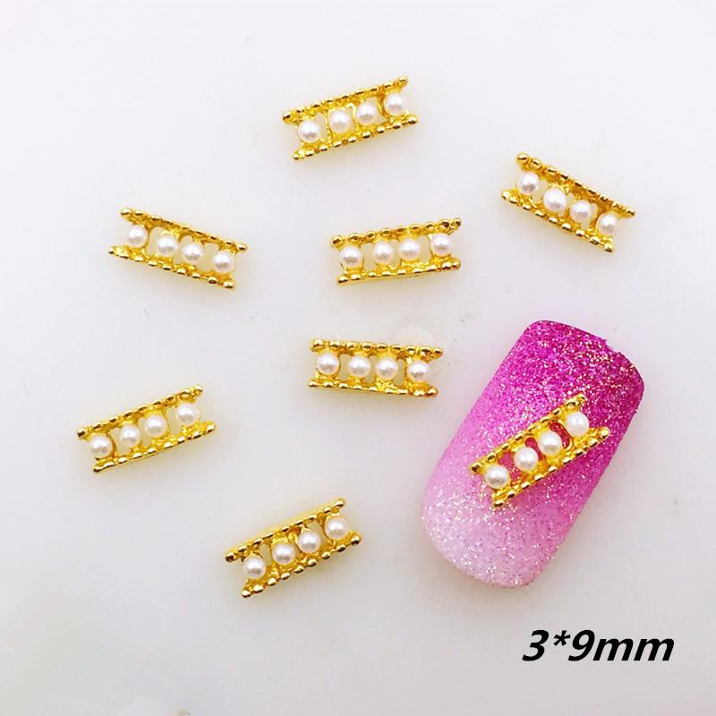 10pcs / pack Japón aleación de oro del arte del clavo 3D Abacus con perlas accesorios de metal para fototerapia etiqueta engomada del clavo de bricolaje