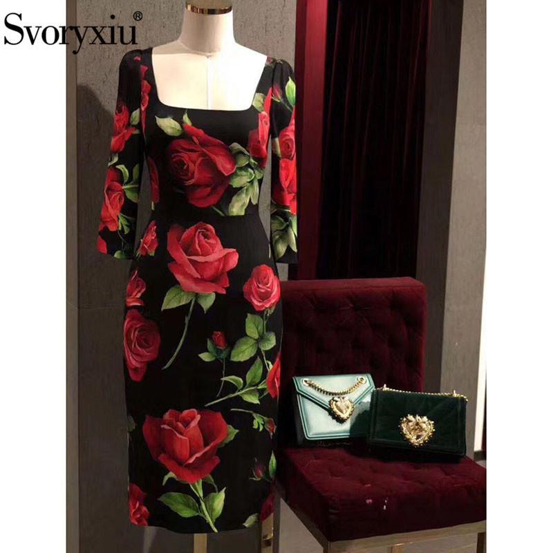 Elegante 3/4 rojo grande al por mayor de la pista otoño invierno de las mujeres vestido de la manera Rose impresión de la flor Vestidos de fiesta de la vendimia Negro