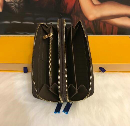 Mode 4 style designer titulaire de la carte de crédit en cuir classique de haute qualité à double fermeture à glissière sac à main plié notes et reçus sac Long portefeuille bourse