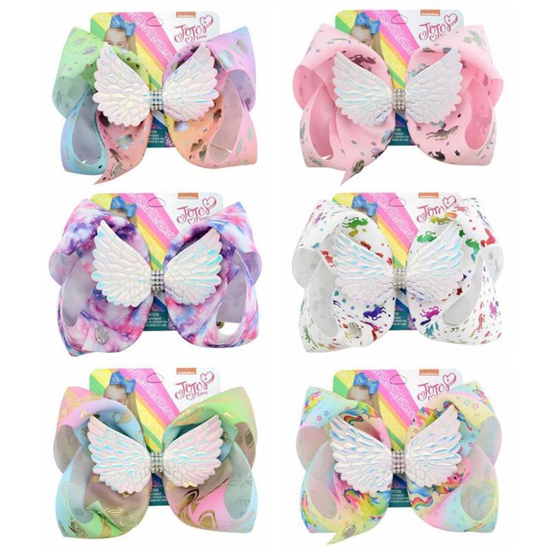 조조 유니콘 헤어핀 천사 날개 머리핀 아기 소녀 머리 리본 꽃 인쇄 버렛 나무 어린이 레인보우 헤어 클립 헤어 액세서리 A52105