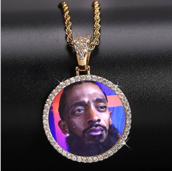 14K por encargo redondo de la foto colgante, collar de cadena de 3 mm medallones Silver Twist color oro circón Hombres de Hiphop GB1515 joyería