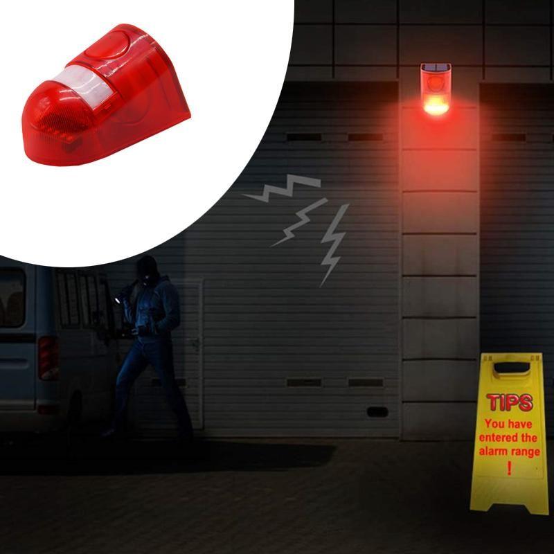 Luz de alarma luz solar del LED lámpara de alarma de 110 dB de sonido de advertencia 6led Rojo ligero IP65 a prueba de agua del sensor de movimiento luces de precaución lugar secreto pared