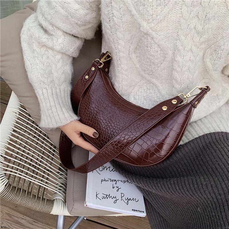 Мода сумки женщин осень 2019 Новый ретро Crocodile Grain Texture одно плечо Алара Пакет Пельмени Пакет Ins Joker T191211