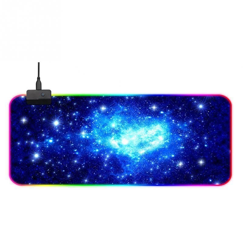 RGB Moda Oyun Ev Galaxy Starry Sky Stil Ofisi Büyük Beden Dikdörtgen Mouse Pad LED Aydınlatma Yumuşak Pro Gamer