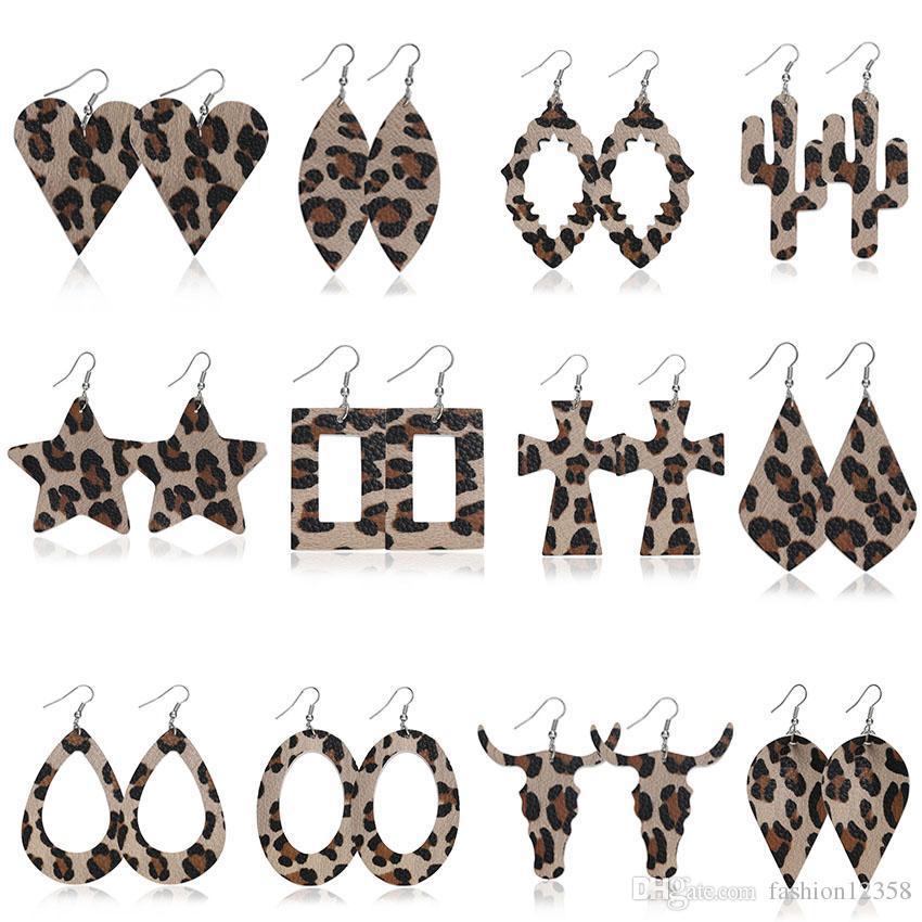 Mode Geometrie Wassertropfen PU-Leder-Ohrring-Kaktus-Kreuz-Platz Penta Bull Ohrring baumeln Ohr-Haken-Leopard Eardrop Frauen Schmuck Geschenk