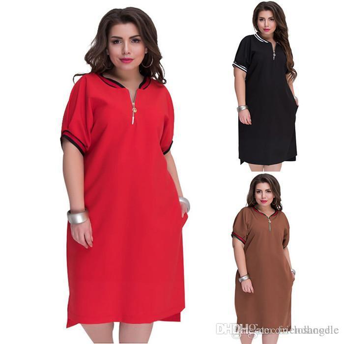 Womens Summer Pure Color Plus Size Casual Dress Round Neck With Zipper Dress Design Natural Casual Dress