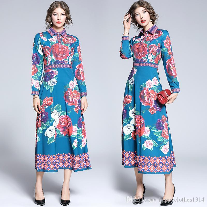 En Yeni Pist kadın Lüks Güzel Çiçek Baskılı Elbiseler Güz Bahar Zarif Ofis Lady Seksi İnce Uzun Kollu Parti Abiye