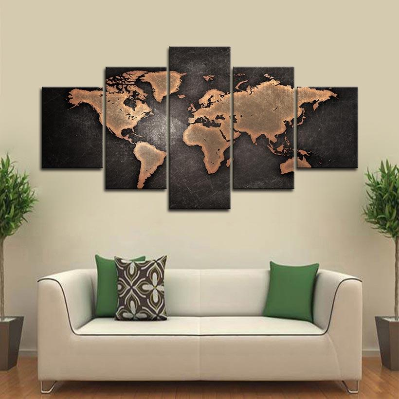 5 Piece Framed Vintage World Map Wall Art Pictures for Living Room Wall Decor Posters and Prints Canvas Painting