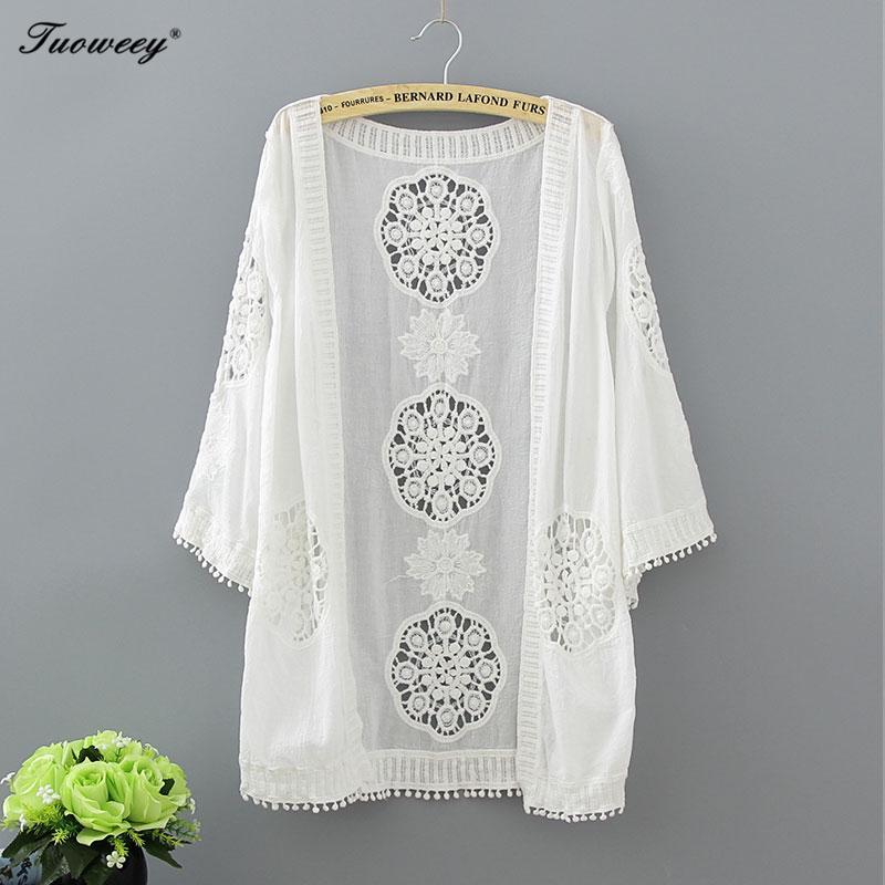 2020 Casual vrac Chemise femme Mode manches mi-longues Kimono Cardigan Blouses évider en dentelle blanche Chemisier Kimono d'été Femmes Hauts Y200622