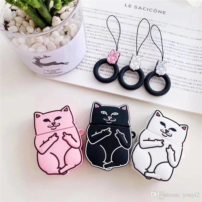 Cute 3D pink middle finger cat Bluetooth wireless headset set Silicone cover For Airpods Earphone Protective Shockproof cases