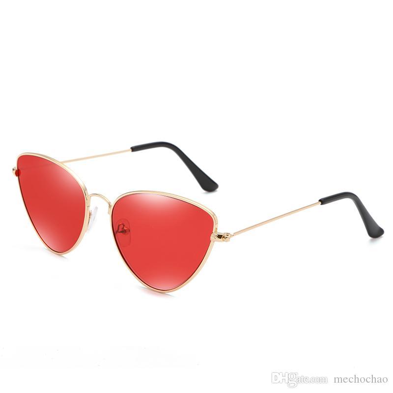 New 2019 mode frauen klassische retro dreieck cat eye sonnenbrille männer und frauen marke design sonnenbrille oculos de sol gafas senden box