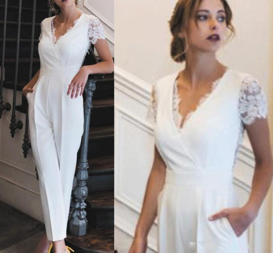 White Long Jumpsuit V Neck Sheath Evening GownsFor Prom with Short Sleeves Lace Ruched Formal Party Dresses And Buttons Back