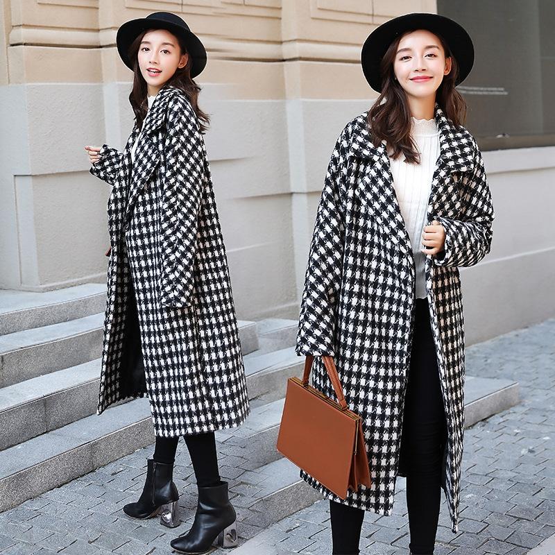 yR4e8 automne et l'hiver et les oiseaux de laine blanche laine à carreaux manteau de laine pour les femmes 2020 noir lâche en forme de cocon sur-genou épaissie wo tf2J0