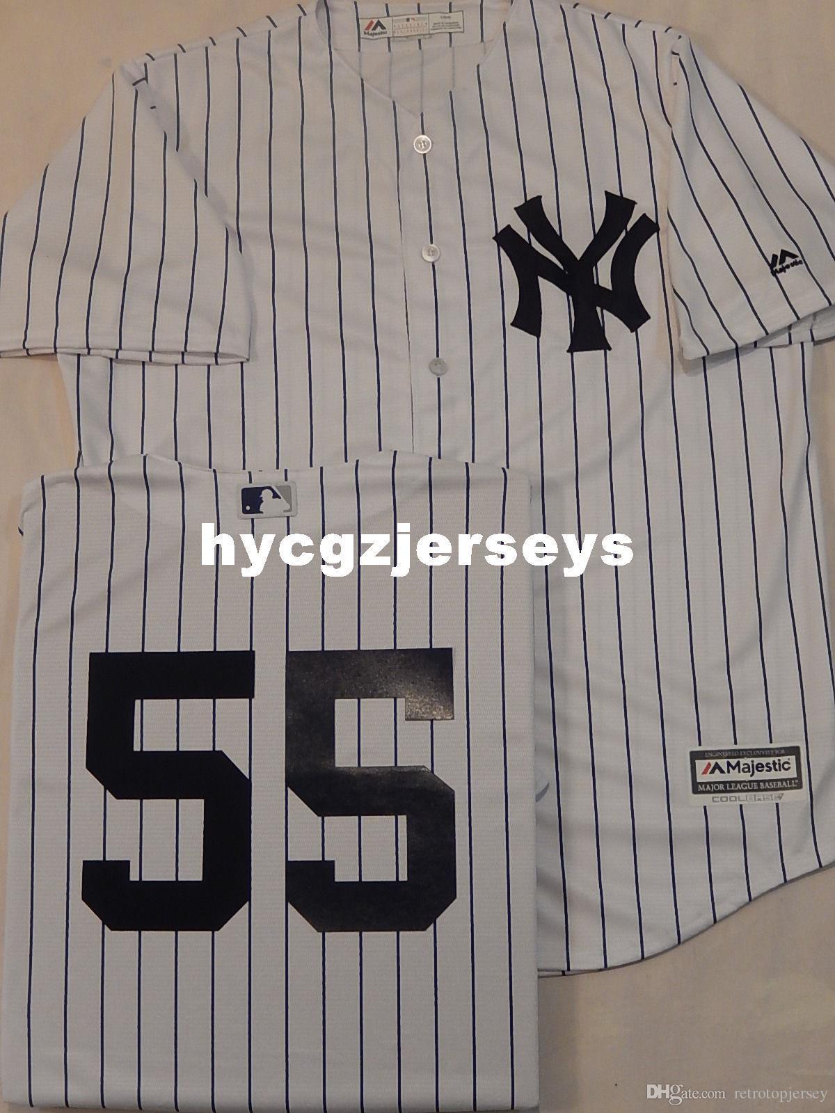 Cheap baseball NY # 55 SONNY GRIGIO Sewn camicia basso freddo Jersey WHT P / S Nuovo Mens cucita maglie grande e grosso formato XS-6XL In vendita