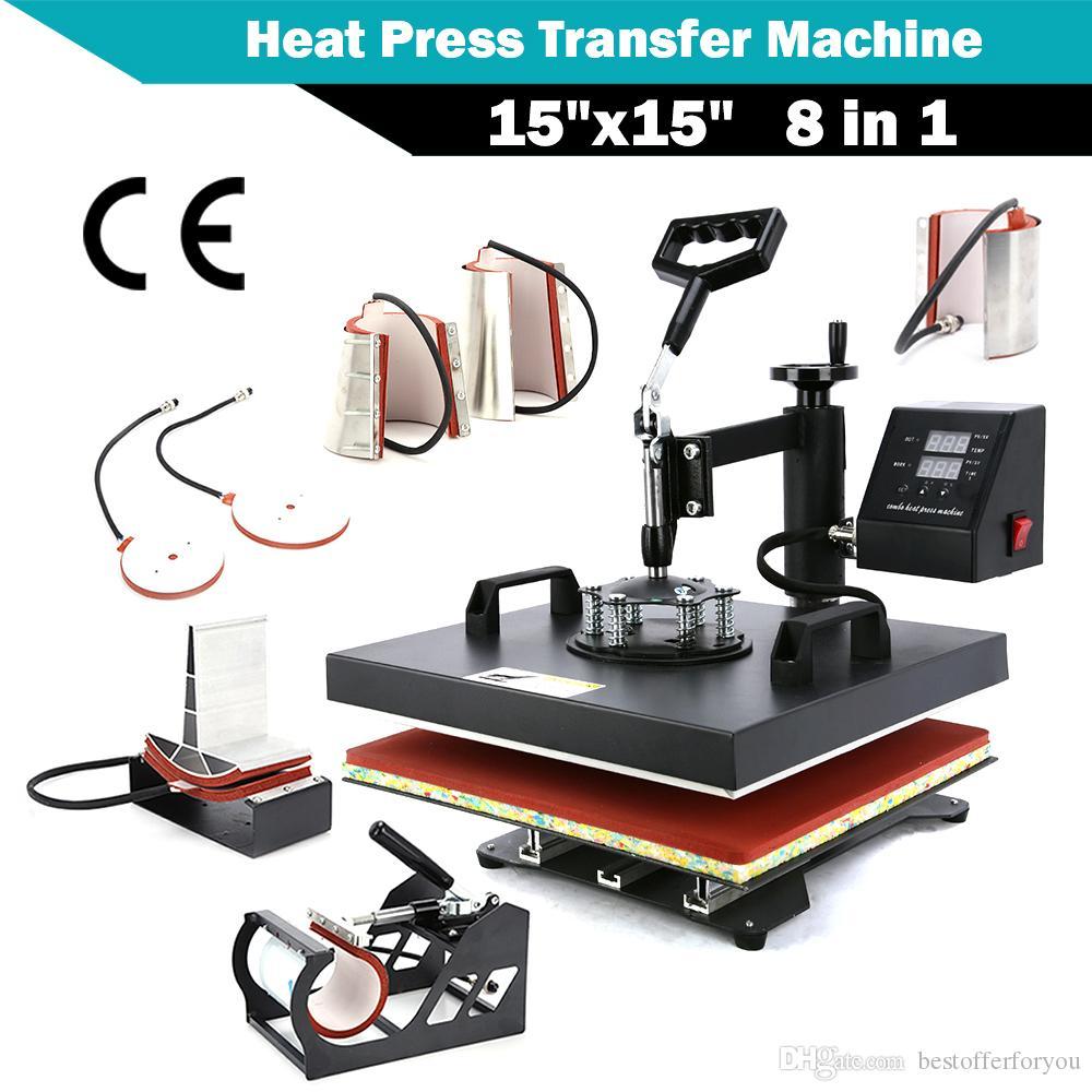 """15 """"X15"""" 8 IN 1 الرقمية الحرارة الصحافة آلة نقل على تي شيرت وكاب قبعة كومبو كيت التسامي سوينغ بعيدا"""
