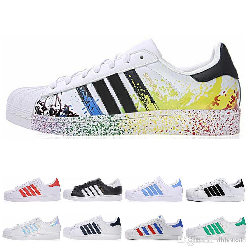 Adidas superstar 2019 Super Star White Hologram Iridescent Junior Uomini Superstars sneakers anni '80 Pride Superstar Womens Mens Sports Scarpe casual 36-45