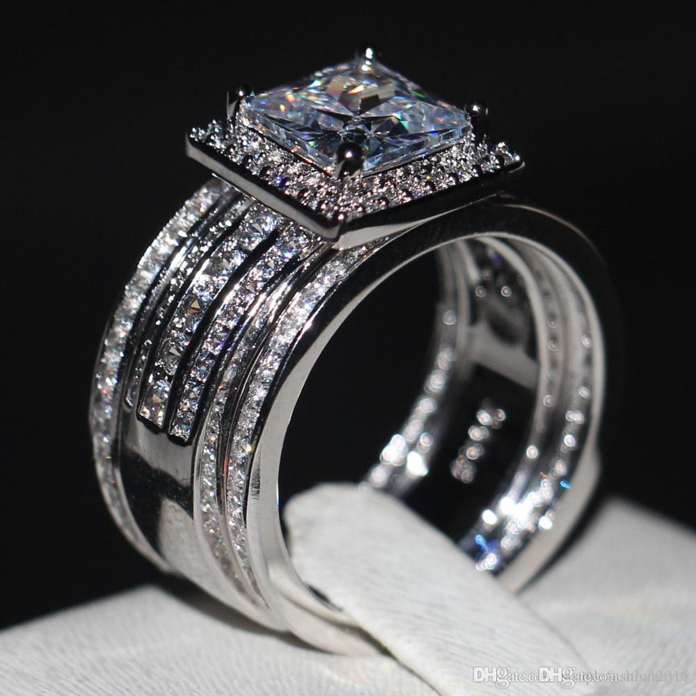 Di lusso degli uomini delle donne Adatti l'anello della principessa Cut 3ct 5A zircone CZ argento 925 due set anello di fidanzamento Wedding Band
