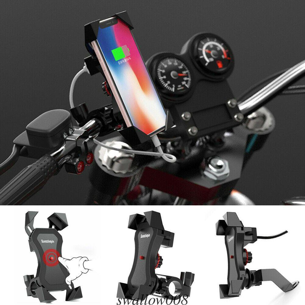 360 درجة للدراجات النارية دراجات دراجة جبل الهاتف حامل USB شاحن للهاتف الخليوي لتحديد المواقع العالمي قابل للتعديل إكسسوارات قوس