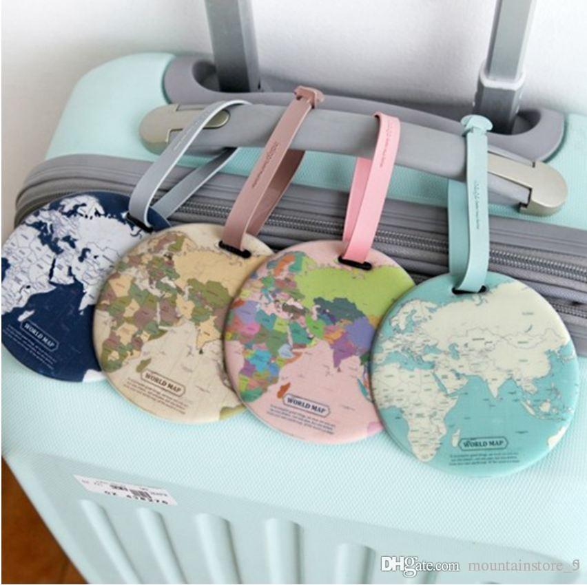 Fashion Map-Gepäckanhänger Frauen Reise-Accessoires Silikagel-Koffer ID Adresse Halter Gepäck Boarding Tag Tragbare Etiketten (Retail)