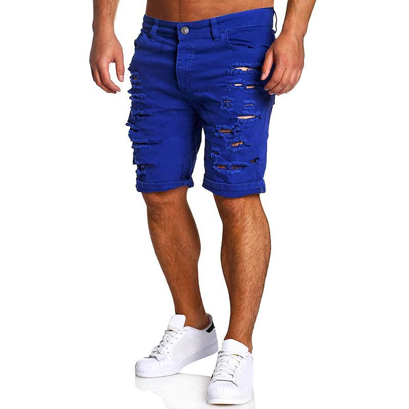 Men Shorts Cotton Brand Summer New Holes Jeans Shorts Fashion Designers Short Jeans Men 'S Slim Jeans Shorts Men Printed Size M -Xxl