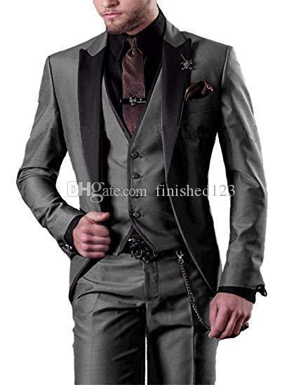 Very Good One Button Gray Groom Tuxedos Peak Lapel Men Suits 3 pieces Wedding/Prom/Dinner Blazer (Jacket+Pants+Vest+Tie) W538