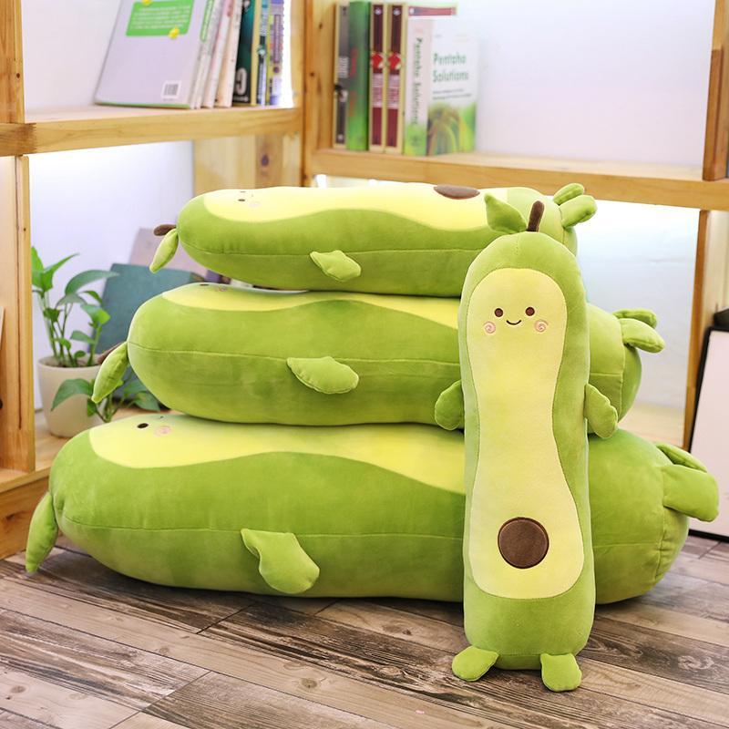 아보카도 봉제 장난감 인형 과일 아보카도 베개 소프트 인형 키즈 가와이이 긴 침구 베개 여자 생일 선물 장난감 귀여운