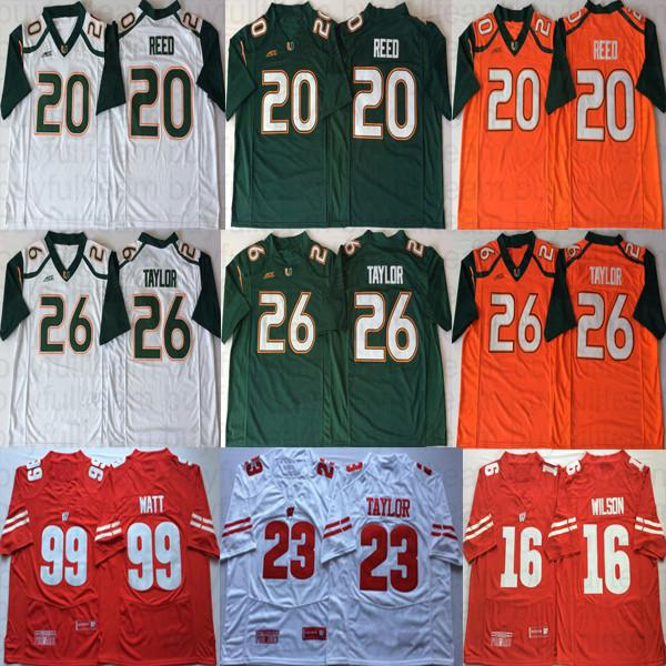 16 Russell Wilson 99 JJ Watt Jonathan Taylor Wisconsin Badgers NCAA Reed 26 Sean Taylor Miami Hurricanes College Football Jerseys