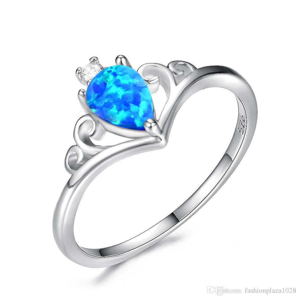 LuckyShine 10 Parça 925 Gümüş Gül Altın Su Damlası Beyaz Opal Yüzükler Kadın Taç Düğün Yüzük Hediye