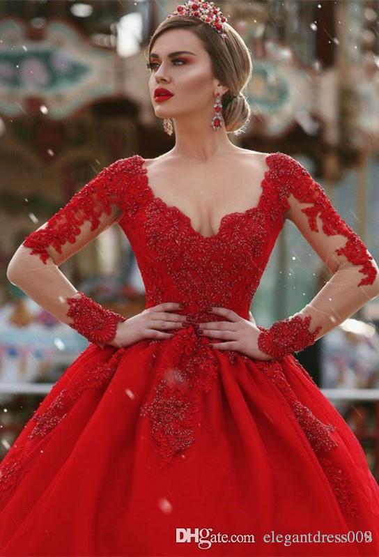 Nuevos Vestidos de Noche Rojos y Calientes Una Línea Perlas Sin Respaldo Cristales Cuello En V Manga Larga Ilusión Tren de la Corte Ilusión Volver Vestido de Noche Formal