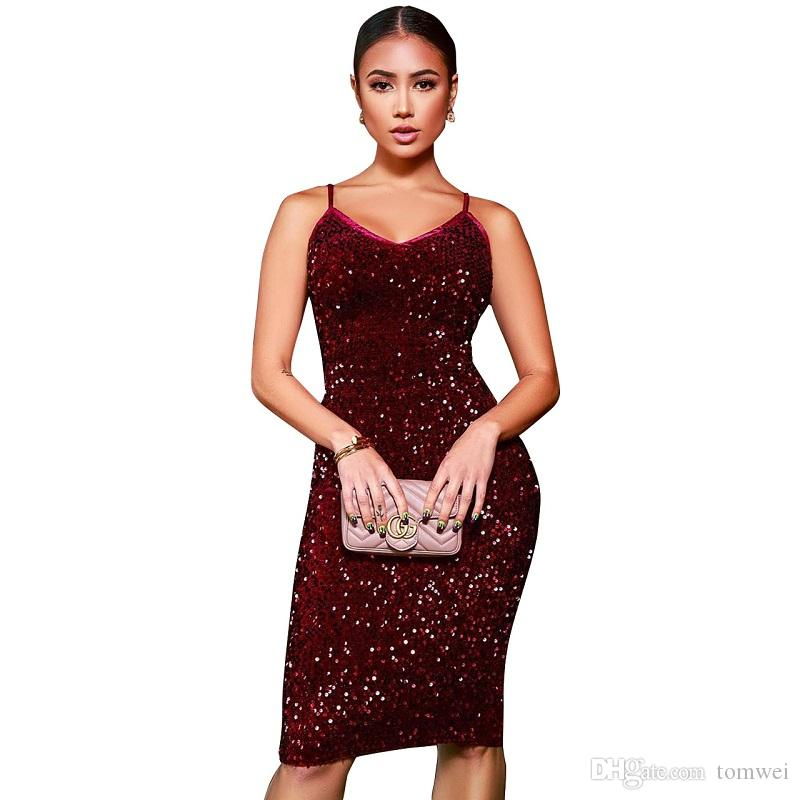 150pcs Summer Sequins Dress Womens Bodycon Club Dress Knee Length 2019 Plus Size Blue Red Wholesale Free Shipping