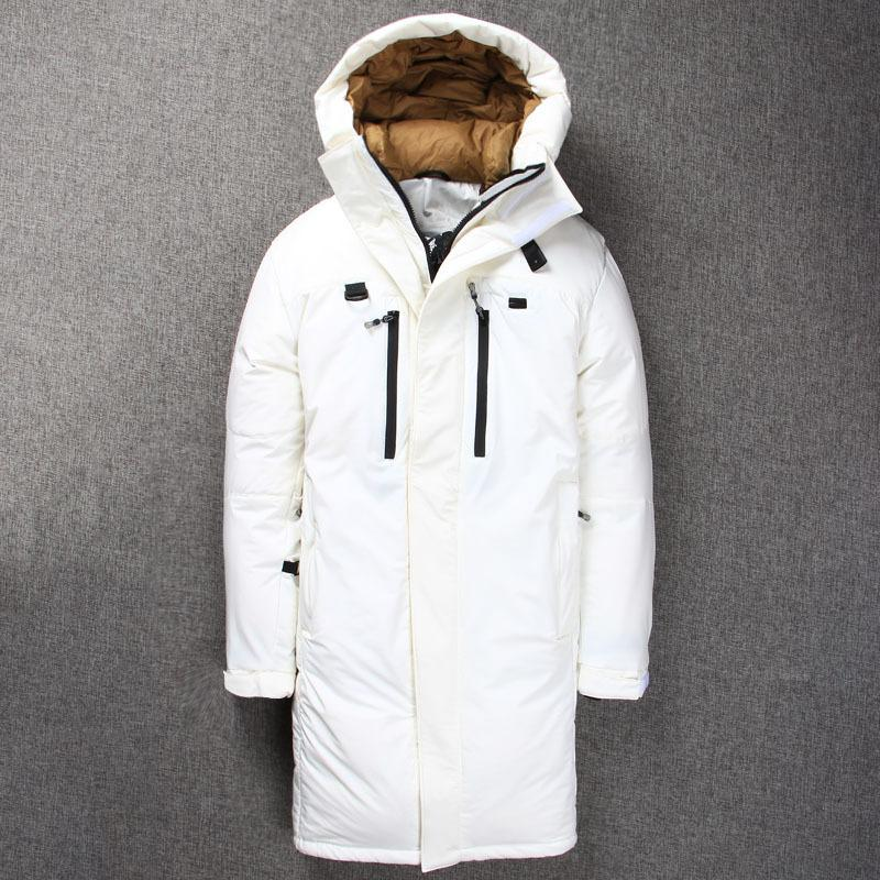 2018 Men Duck Down Jackets 러시아어 후드 롱 두꺼운 겨울 웜 오리 파커 페더 Wellensteyn Coat Mens Puffer Jacket