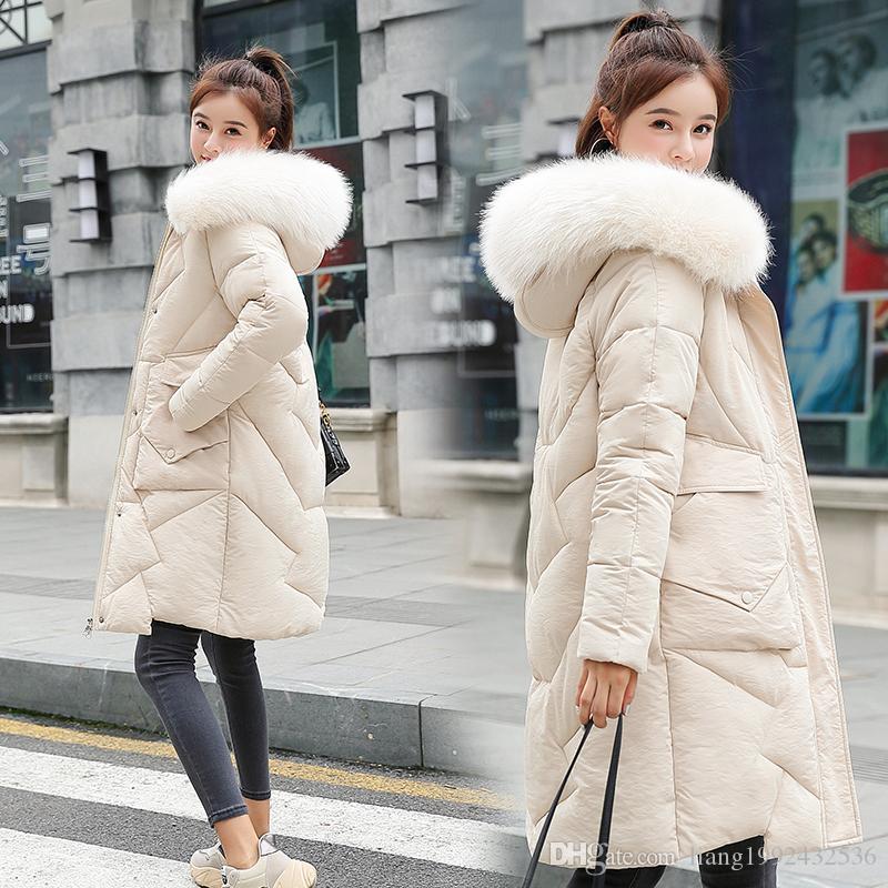 Wintermantel-Jacke der Großhandelsfrauen unten aufgefüllte Pelzkragen-warme lange mit Kapuze Outwear Größe S-3XL