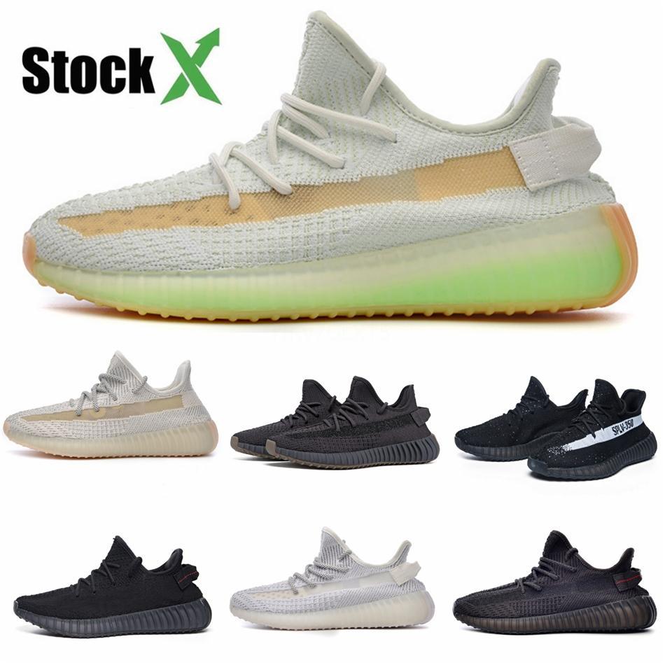 2020 Designer Shoes Kanye West nero riflettente Zebra crema bianca tinta blu delle donne degli uomini Running Shoes Sport Sneakers con la scatola # DSS448