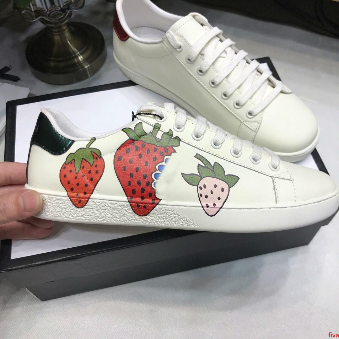Ace zapatos de diseño zapatos de cuero de las zapatillas de deporte casual de fresa bordado abeja, flores tigres fruta del dragón hombres y mujeres zapatillas de deporte Tamaño US5-US13